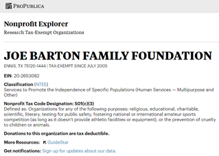 ProPublica lookup for the nonprofit