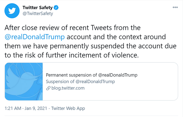 twitter permanent suspension of President Donald Trump account announcement